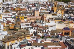Wyrzynarka jak widok Seville, od Giralda wierza obraz royalty free