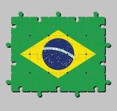 Wyrzynarki łamigłówka Brazylia flaga w i świat w centrum zielonym kolorze żółtym i błękitnym kolor ilustracji