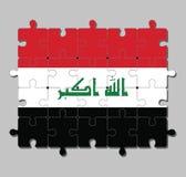 """Wyrzynarki łamigłówka Irak flaga w horyzontalny tricolor czerwony czarny z """"God i biały jest wielcy «w zieleni royalty ilustracja"""