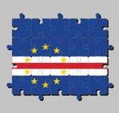 Wyrzynarki łamigłówka przylądka Verde flaga w błękitnym białym i czerwonym kolorze z okręgiem dziesięć gwiazda ilustracja wektor