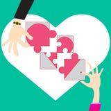 Wyrzynarki łamigłówki pojęcia budowa tworzy miłości w walentynki ilustracji
