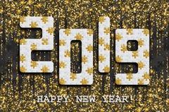 2019 wyrzynarki łamigłówki tło z wiele złoci błyskotliwości i czerni kawałki Szczęśliwego nowego roku Karciany projekt mozaika ab royalty ilustracja