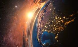 Wysoce szczegółowa planety ziemia w ranku, ilustracji