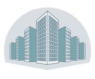 Wysocy budynki, mieszkaniowy dom, tenement domy, bloki mieszkaniowi, kondominia, w kreskowym stylu również zwrócić corel ilustrac royalty ilustracja