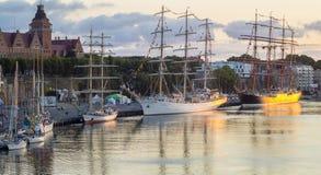 Wysocy statki Szczecińscy - Wielki statku Regatta w Szczecińskim Obrazy Stock
