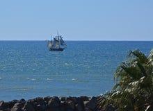 Wysocy statku żeglowania piraci Karaiby Zdjęcie Stock