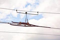 wysoka linia napięcie kolejowy drut Obrazy Royalty Free
