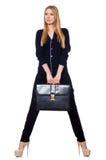 Wysoka młoda kobieta w czarnej odzieży z torebką Fotografia Stock