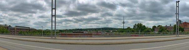 Wysoka rozdzielczość panorama różni miasta lubi Hamburskiego Flensburg i Wiedeń zdjęcia royalty free