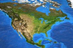 Wysoka rozdzielczość światowa mapa skupiająca się na Północna Ameryka zdjęcie stock