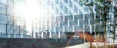 Wysoka Rozdzielczość Abstrakcjonistyczna centrum biznesu wejścia panorama Zdjęcie Stock