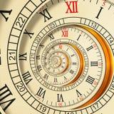 Wysoka rozdzielczość Antykwarskich starych ślimakowatych zegarów fractal abstrakcjonistyczna spirala Zegarek tekstury fractal wzo ilustracji