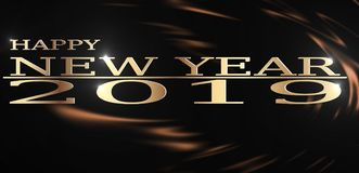 Wysoka rozdzielczość ilustracja Szczęśliwego nowego roku powitania 2019 Złoty odpryśnięcie na ciemnym Ciekłym czekoladowym tle royalty ilustracja