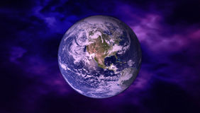 Wysoka Rozdzielczość planety ziemi widok Światowa kula ziemska od przestrzeni w gwiazdowym polu pokazuje chmury i teren elementy Obraz Royalty Free