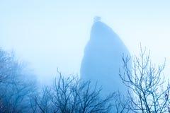 Wysoka skała z drzewem na wierzchołka i ponuractwa nagich gałąź drzewa ja zdjęcie stock