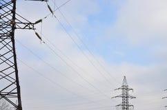 wysoka wieża napięcia elektrycznego Elektryczność przekazu pilon Fotografia Royalty Free