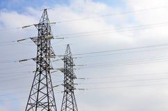 wysoka wieża napięcia elektrycznego Elektryczność przekazu pilon Zdjęcia Stock