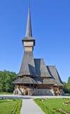 Wysoki drewniany kościół - Sapanta Peri, Maramures Zdjęcie Stock