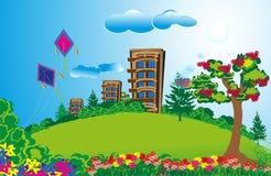 Wysoki mieszkanie w długiej zieleni polach z kolorowymi kwiatami i jaskrawym niebem Fotografia Royalty Free