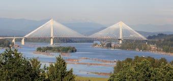 Wysoki most nad Fraser rzeką Zdjęcia Royalty Free