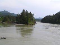 Wysoki nawadnia rzekę z wyspą obraz royalty free