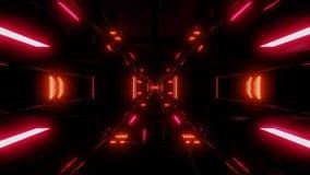 Wysoki odbijający futurystyczny scifi tunel z ciemną atmosferą ilustracji