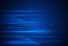 Wysoki prędkość ruch i ruch plama nad zmrokiem - błękitny tło Futurystyczny, cześć techniki technologii pojęcie royalty ilustracja