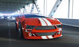 Wysoki prędkości polici pościg Rodzajowy egzotyczny sporta samochód nad długim mostem ilustracji