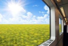 Wysoki prędkość pociągu okno Obrazy Stock