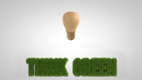 Wysoki res lightbulb drewniany slogan Zdjęcie Royalty Free