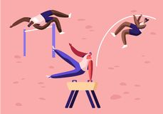Wysoki skok nad barierą z słupem i, ćwiczenie na Sklepia koniu Olimpiada sportów rywalizacja, mistrzostwo royalty ilustracja