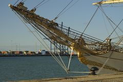 Wysoki statek Dani przy portem Cadiz Hiszpania Fotografia Stock