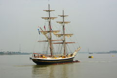 Wysoki statek Morgenster na Rzecznym Thames UK obrazy stock