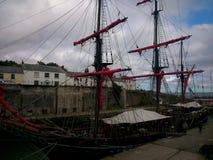 Wysoki statek w Cornwall Zdjęcie Royalty Free
