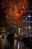 Wysoki statków fajerwerków Varna port Bułgaria Obrazy Stock