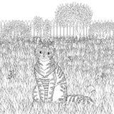 Wysoki szczegół deseniujący kot na szczegółowym tle Obrazy Royalty Free