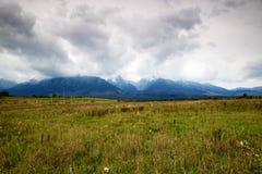 Wysoki Tatras w jesieni z niski poziom podeszczowymi chmurami, Sistani Obrazy Stock