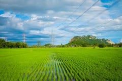 Wysoki woltaż elektryczności pilon na confield moutain i Fotografia Royalty Free