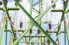 Wysoki woltażu switchgear wyposażenie z niebem Zdjęcia Royalty Free