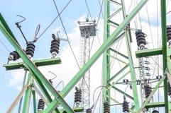 Wysoki woltażu switchgear wyposażenie z niebem Zdjęcia Stock
