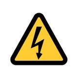 Wysoki woltażu znak Niebezpieczeństwo symbol Czarna strzała odizolowywająca w żółtym trójboku na białym tle ostrzegawcza ikona Obrazy Stock