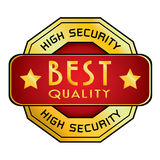 Wysokie Bezpieczeństwo & Najlepszy ilość logo Wysokie Bezpieczeństwo & Najlepszy ilość logo odizolowywający na białym tle Obrazy Stock