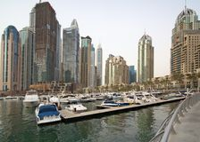 Wysokie igły drapacze chmur biznesowy Dubaj miasto Obraz Stock
