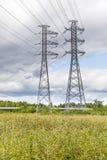 Wysokie woltaż linie energetyczne i górują Fotografia Stock