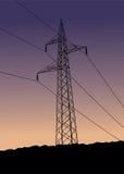 Wysokie woltaż linie energetyczne Zdjęcia Stock