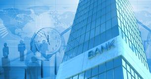 Wysokiego budynku bank z czasem i światowymi ludźmi ikon Obraz Royalty Free