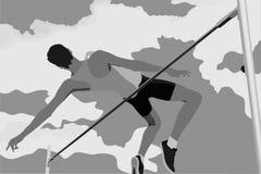 Wysokiego skoku atlety doskakiwanie ilustracja wektor