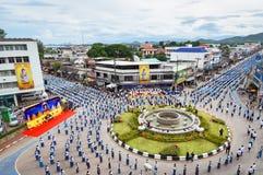 Wysokiego widoku Dziejowy obrazek ceremonia taniec bogini Thailand 2018 Obraz Royalty Free