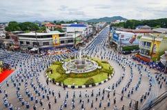 Wysokiego widoku Dziejowy obrazek ceremonia taniec bogini Thailand 2018 Fotografia Stock