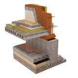 Wysokiej jakości 3d odpłacają się komputerowego wizerunek podstawy i ściany z izolacją dom Zdjęcie Royalty Free